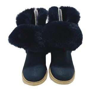 Zara Navy Glitter Faux Fur Roll Down Boots